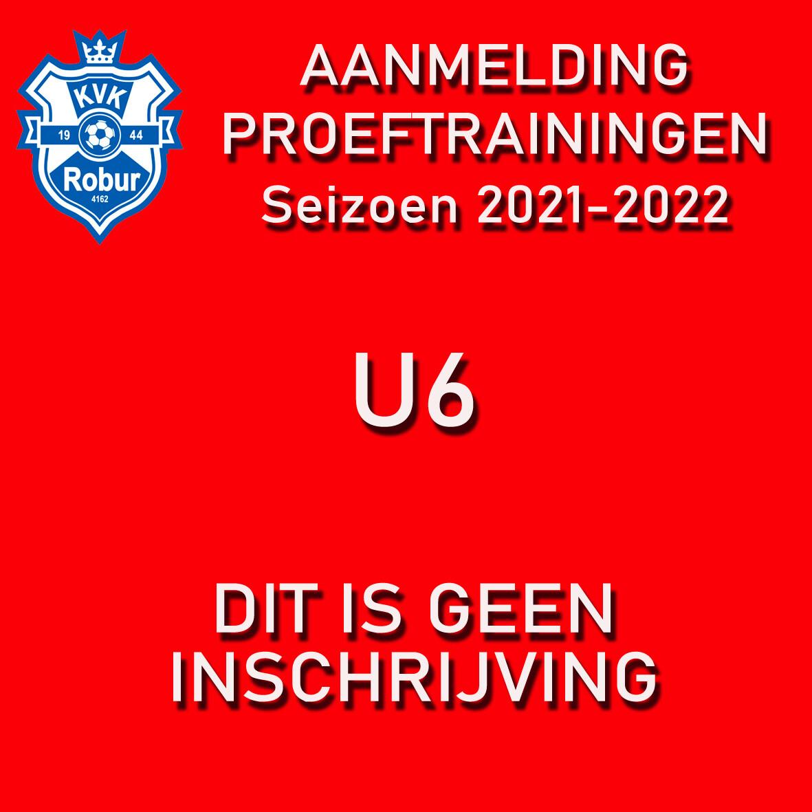 Aanmelding Proeftrainigen U6