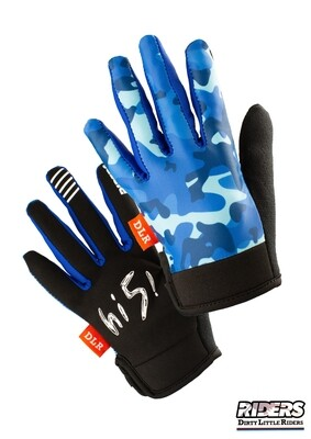 DLR Full-Finger Gloves - Camo Blue