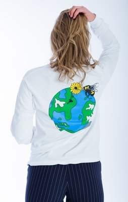 White Long Sleeve Globe Tee