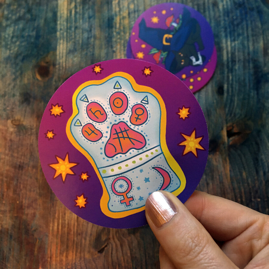 Witches Cat mystic Sticker Set