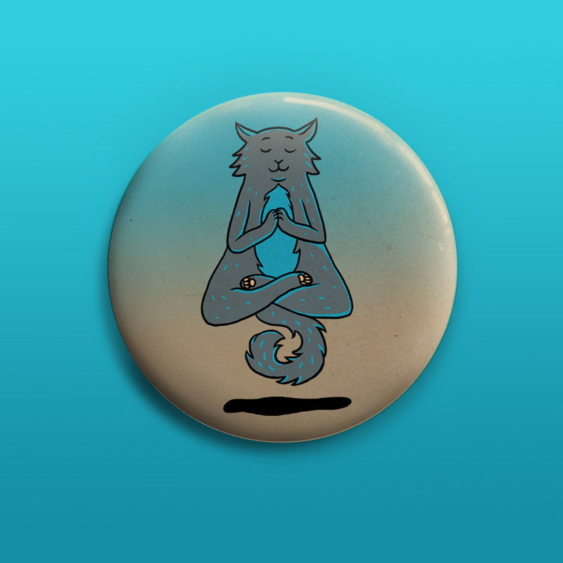 Yoga Cat Button 50mm