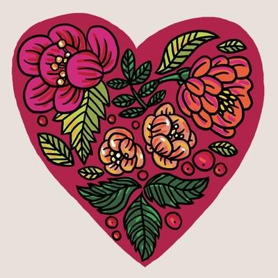 Тату цветущее сердце (3 штуки)