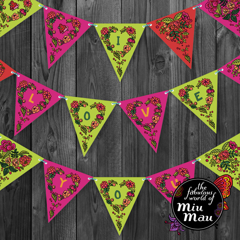 Valentine Party Flags (Green-Pink)