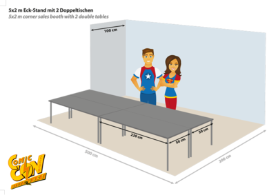 Eckstand 5x2m mit Tischen | corner booth 5x2m with tables
