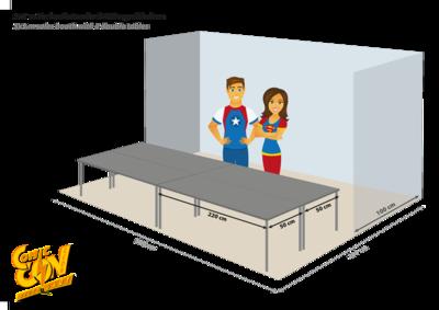 Reihenstand 5x2m mit Tischen | row booth 5x2m with tables