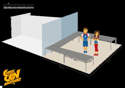 Kopfstand 5x4m mit Tischen | Head booth 5x4m with tables