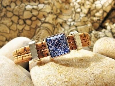 Camino de Santiago bracelet - mosaic tile + cork