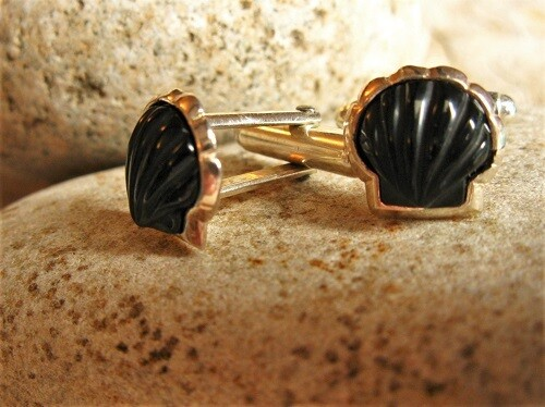 Scallop shell cufflinks ~ silver + hand-carved jet