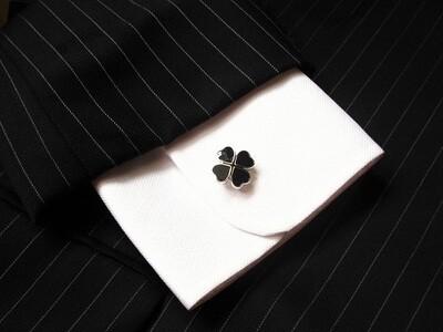 Four leaf clover cufflinks ~ black, to help ward off misfortune