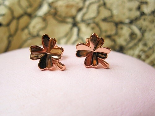 Lucky four leaf clover stud earrings ~ rose gold, for protection and safekeeping