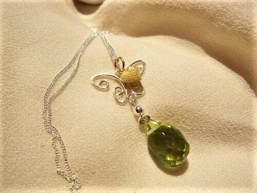 Butterfly necklace ~ Brimstone, silver