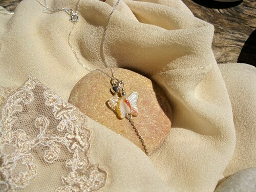 Butterfly necklace ~ OrangeTip, silver