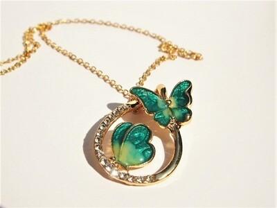 Butterfly necklace ~ rhinestone teardrop, Be the Change
