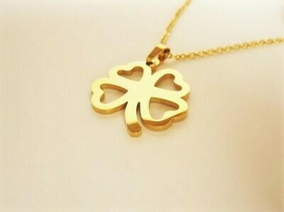 Lucky clover necklace ~ golden open, safeguarding gift