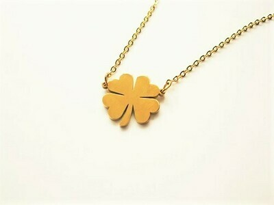 Lucky clover necklace golden classic to help avoid bad luck