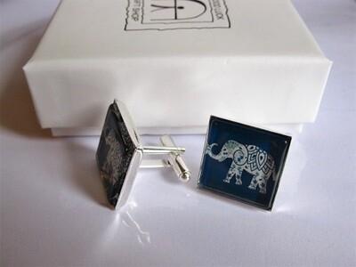 Lucky elephant cufflinks said to foster strength wisdom and wealth