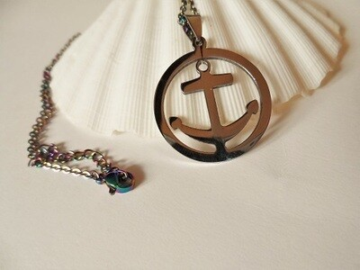 Anchor in circle necklace ~ stainless steel