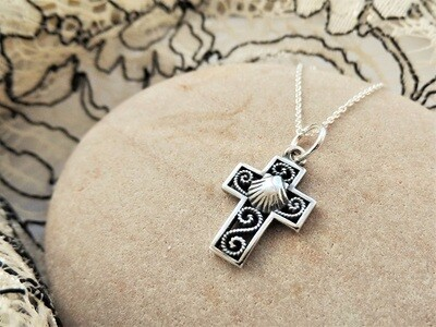 Filigree cross with scallop shell ~ small, silver