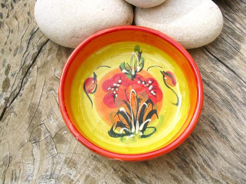 Spanish ceramic bowl ~ poppy field