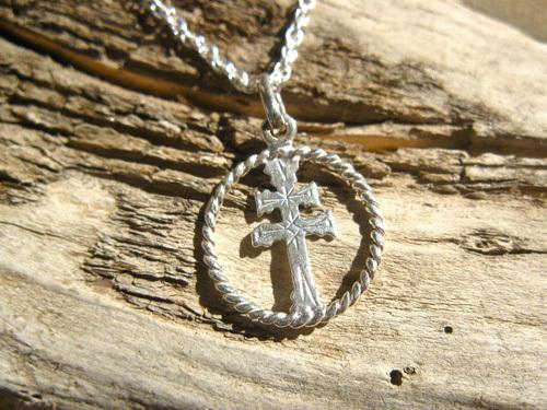 Caravaca cross necklace ~ circular, silver