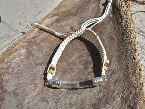 Lourdes water jewellery ~ glass vial bracelet ~ cotton & bead