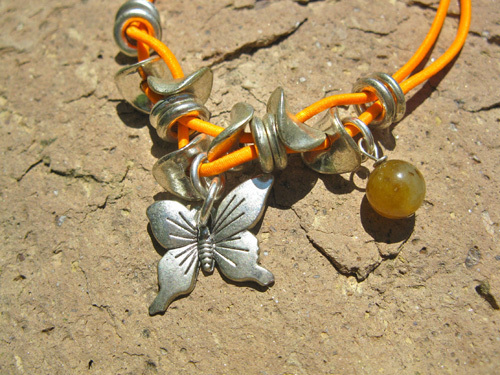 Butterfly charm anklet with gemstones