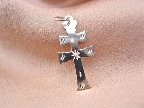 Caravaca cross necklace ~ engraved silver