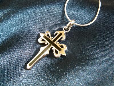 Camino de Santiago cross necklace - sterling silver + jet, large
