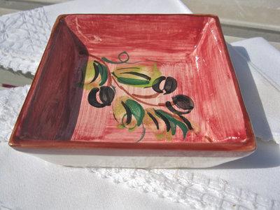 Spanish ceramic dish ~ olive blush, square