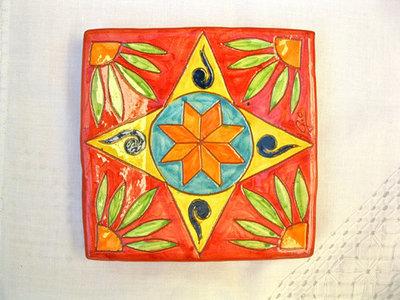 Spanish Plate ~ starflower, square