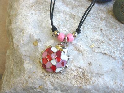 Ladybird charm necklace ~ enamel mosaic