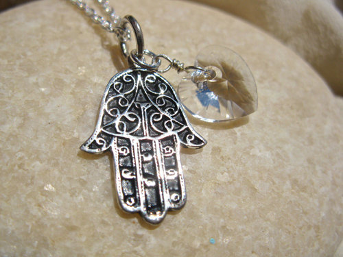 Hamsa Hand of Fatima necklace ~ 2-part, silver