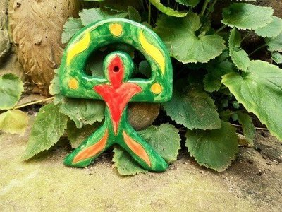 Spanish ceramic Indalo talisman ~ GREEN 2