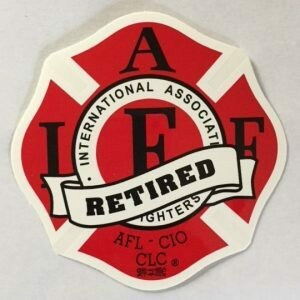 Vehicle Sticker IAFF Classic Red - Retired