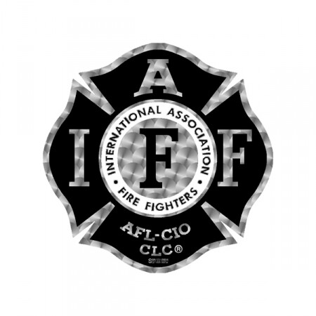 Helmet Sticker IAFF Black/Silver Maltese (Reflective)