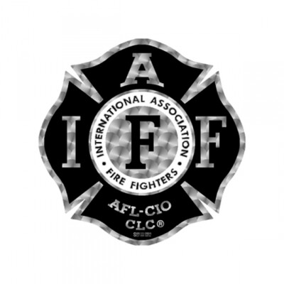 Helmet Sticker IAFF Black/Silver Maltese (Reflective)