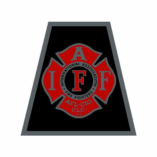 Helmet Sticker IAFF Black/Red Tetrahedron (Reflective)
