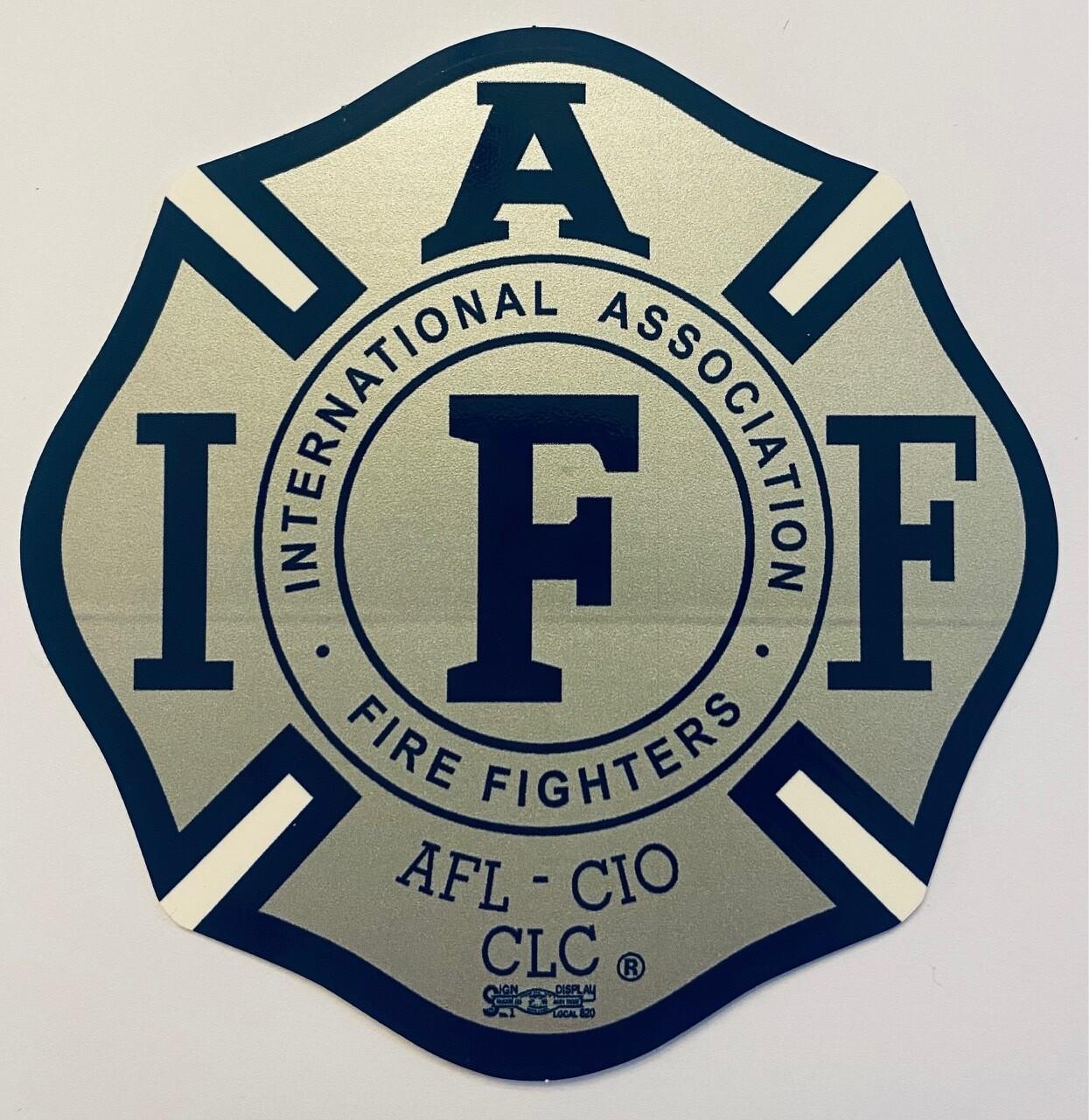 Vehicle Sticker IAFF Silver & Navy