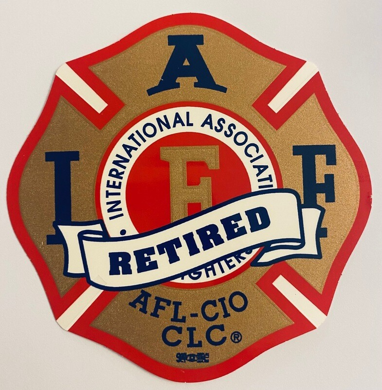 Vehicle Sticker IAFF Gold Red Blue - Retired (New Style)