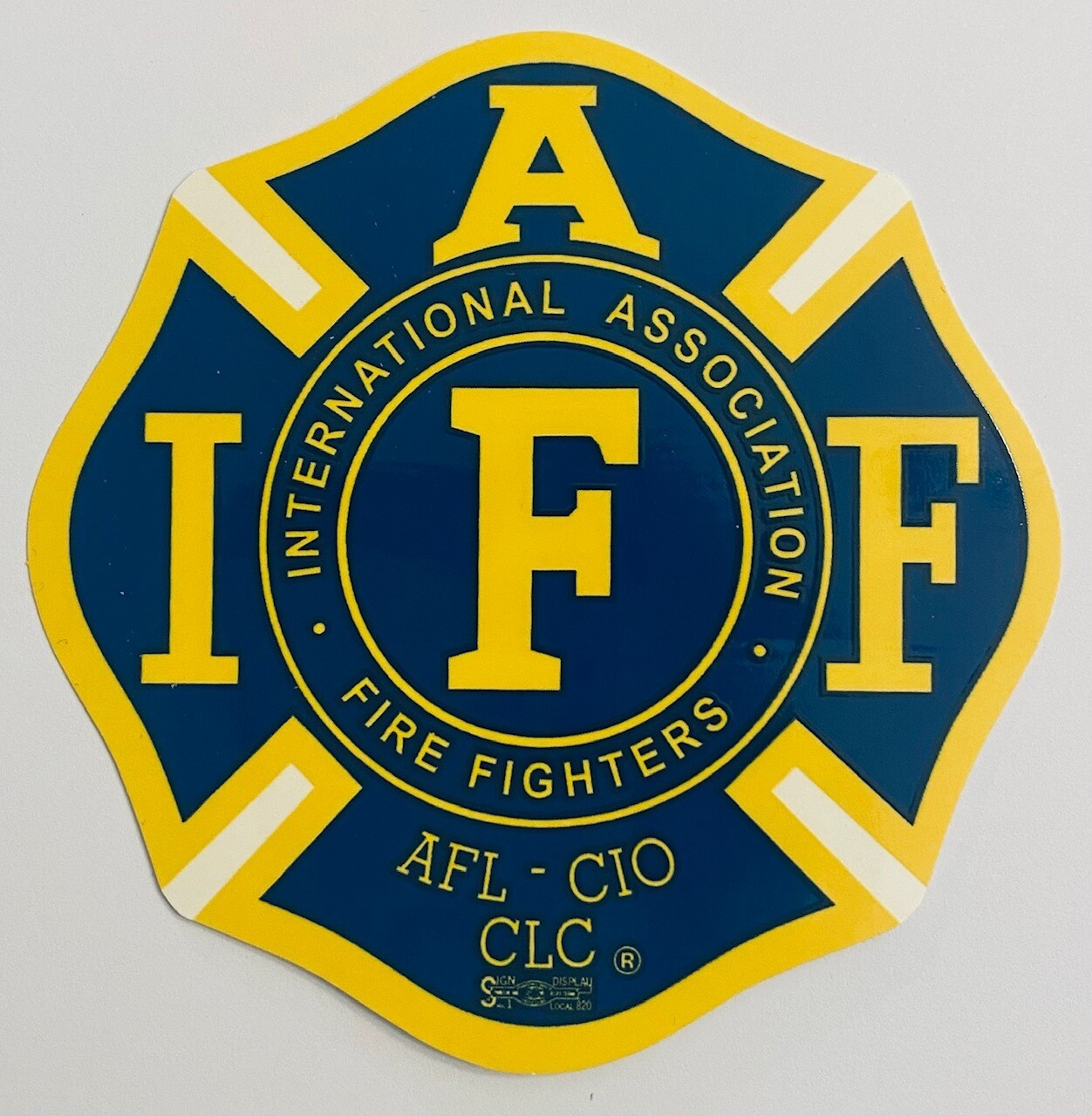 Vehicle Sticker IAFF Navy & Yellow