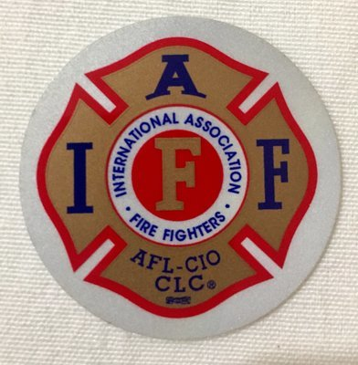 Helmet Sticker IAFF Gold Red Blue