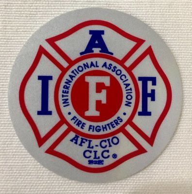 Helmet Sticker IAFF White Red Blue