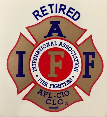 Vehicle Sticker IAFF Gold Red Blue - Retired