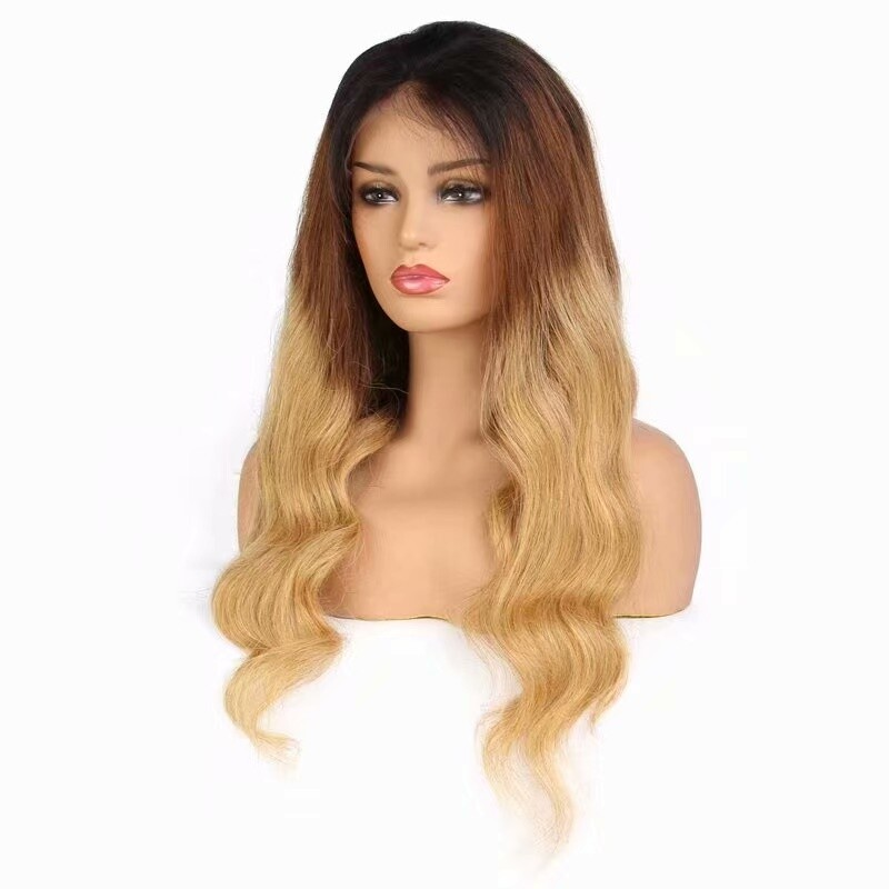 T1B/4/27 Color Body Wave 13 x 4 Lace Frontal Wig 130 Density with Indian Virgin Hair