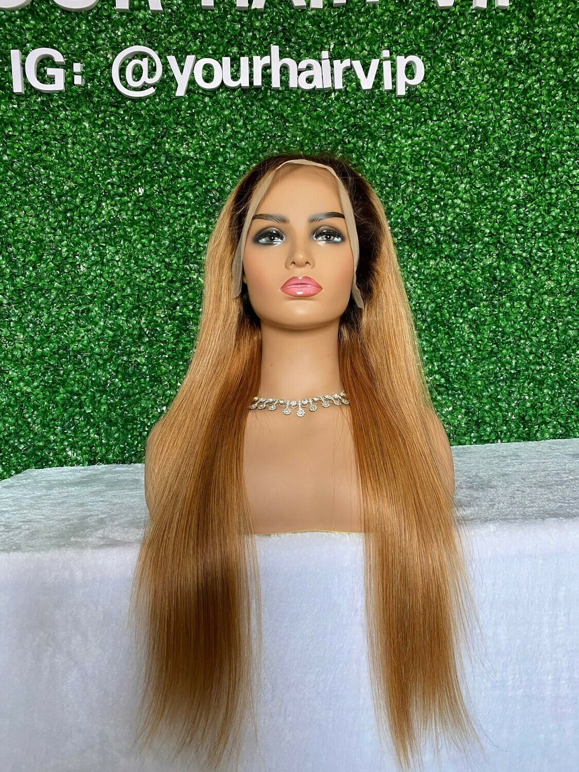 Custom 4/27 Color Full 13 x 4 Transparent Lace Frontal Wig