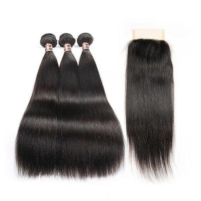 4 PCS/LOT Bundles Straight Unprocessed Human Hair Extension with Lace Closure