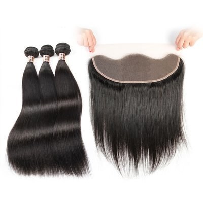4PCS/LOT Virgin Hair Straight with lace Frontal Ear to Ear Transparent Lace Frontal 13x4 With Bundles Deals