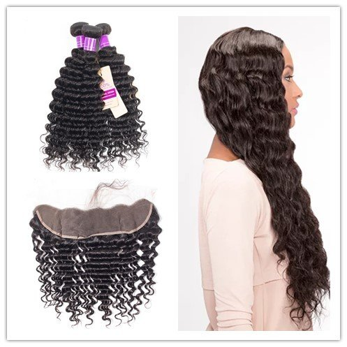 4 PCS/LOT Human Hair Extensions Weft Deep Wave Curly 3 Bundles With 13X4 Lace Frontal Hair Weaves With Frontal
