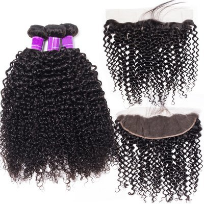 4 PCS/LOT Italian Curly Human Hair With Lace Frontal Closure Ear To Ear With Baby Hair
