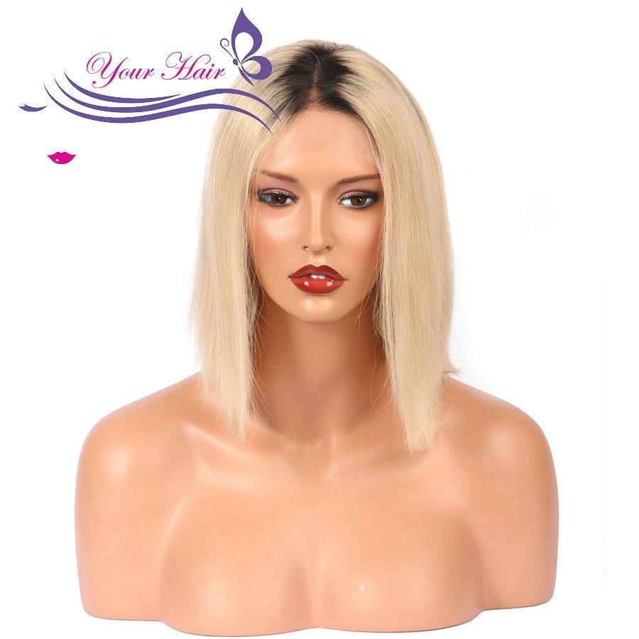 Blonde T1B/613 Color Dark Roots Bob Pre Plucked Full Lace Frontal Wig Human Hair With Baby Hair